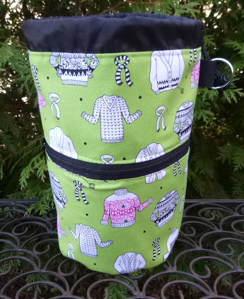 green knitting project bag