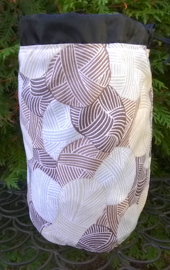 knitting bag with brown skeins