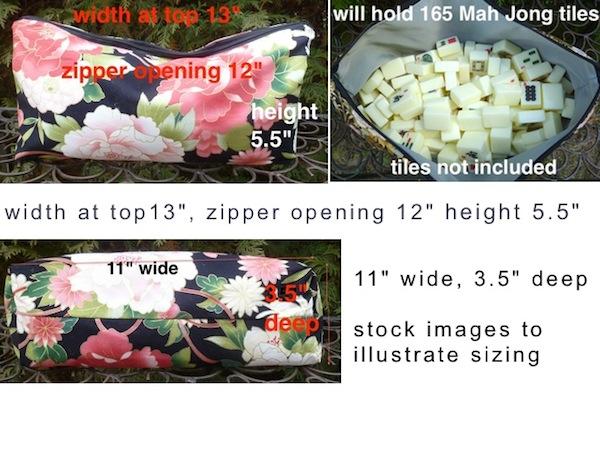 flat bottom zippered bag for mah Jongg tiles