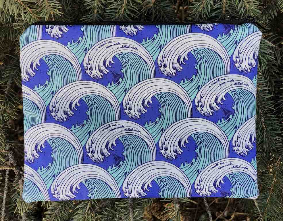 Ocean waves Mahjong card and coin case