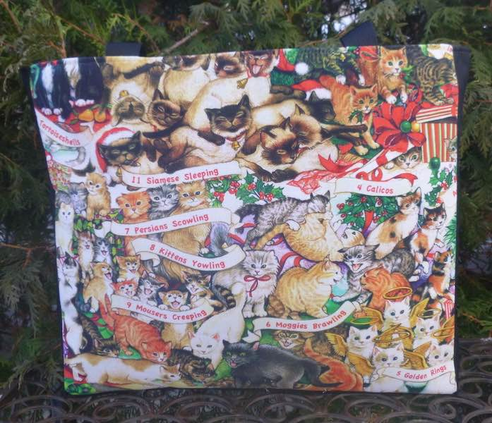 12 Cats of Christmas  Medium Fleur Tote, wide