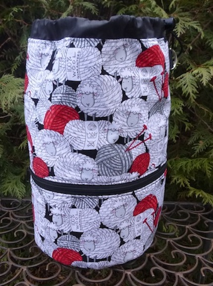 Skeins of Sheep knitting project bag, large Kipster