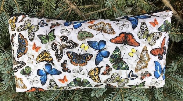Butterflies on White Large Zini Flat Bottom Bag
