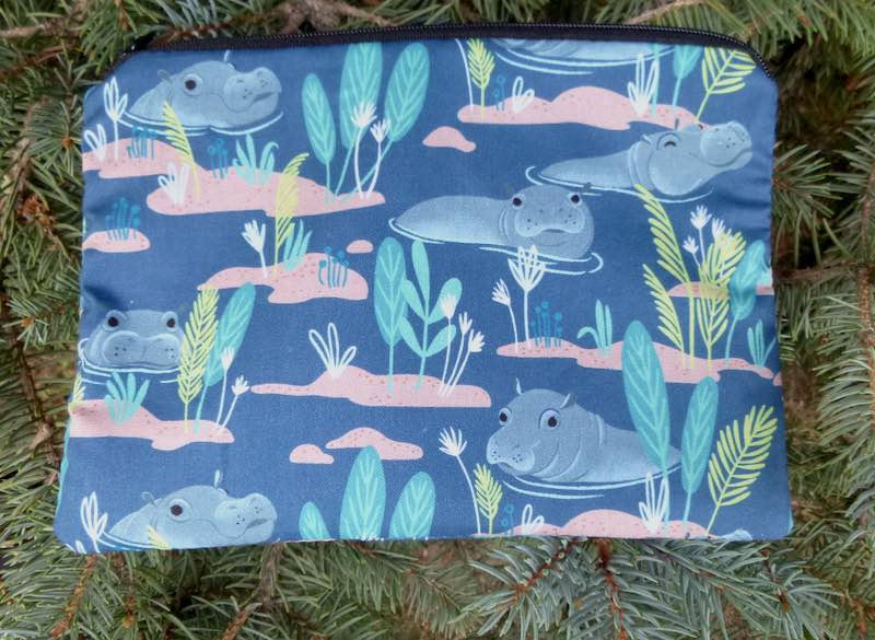 Congo Hippos zippered bag, The Scooter, pick your color, dark or light