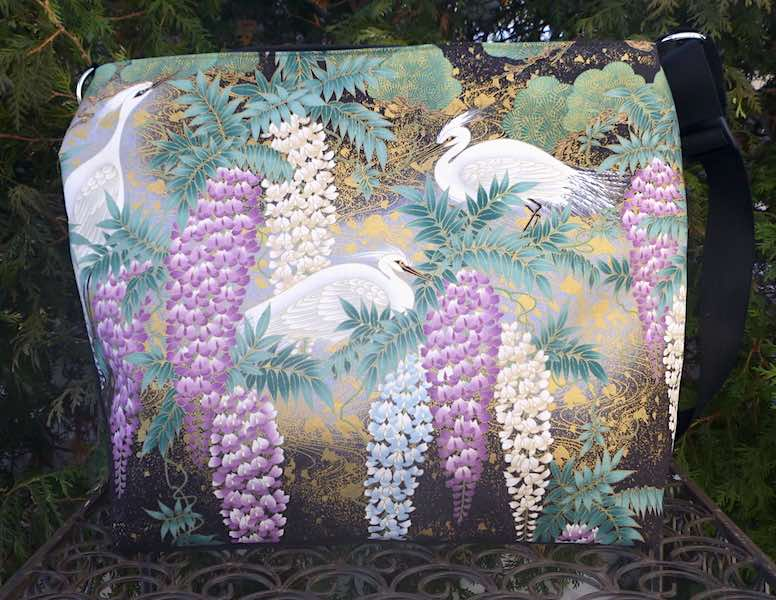 Japanese Herons and Wisteria Britta large zippered cross body purse