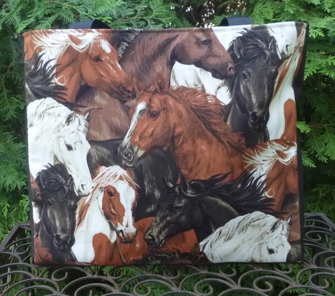 Horse Portraits Medium Fleur Tote, wide