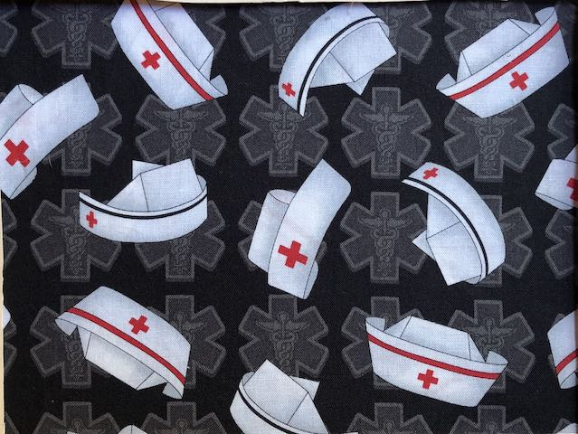 Nurses Caps on black Adjustable Face Mask - MADE TO ORDER