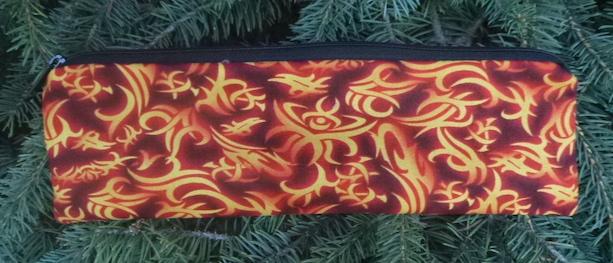 Flaming Symbols zippered pouch for chopsticks, knitting needles or crochet hooks, The Sleek