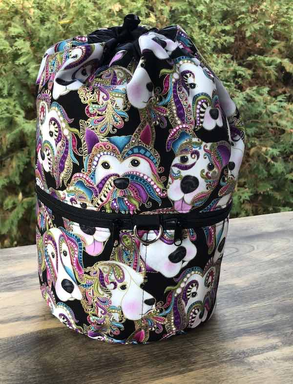 Paisley Dogs knitting project bag, large Kipster