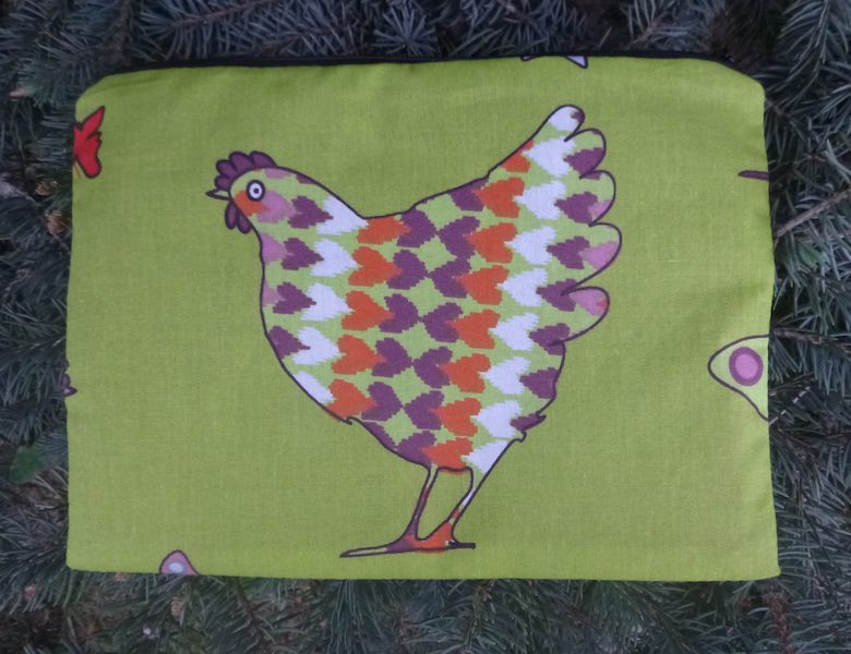 Patterned Chickens Mahjongg card and coin purse, The Slide