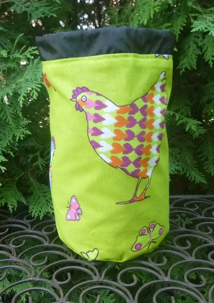 Patterned Chickens SueBee Round Drawstring Bag
