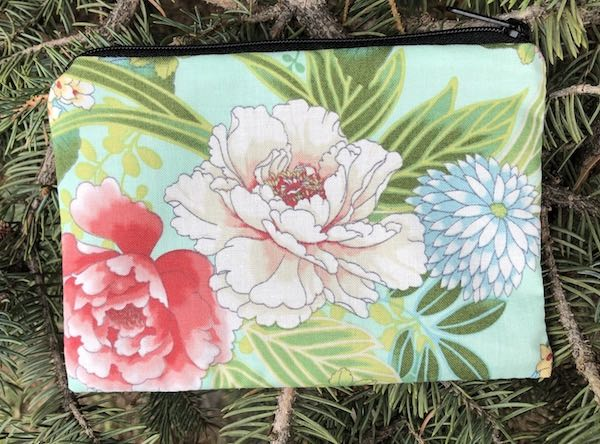 Peonies on Mint Goldie zippered bag