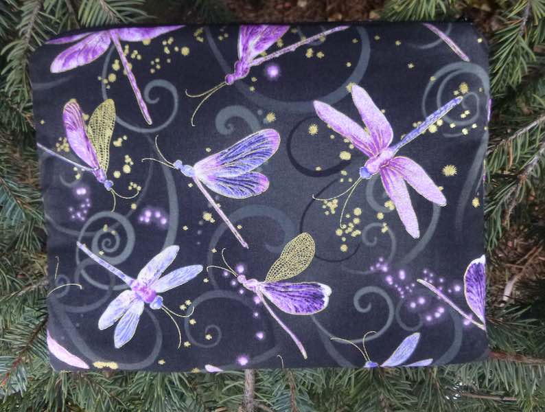 Purple Dancing Dragonflies Mahjongg card and coin purse, The Slide