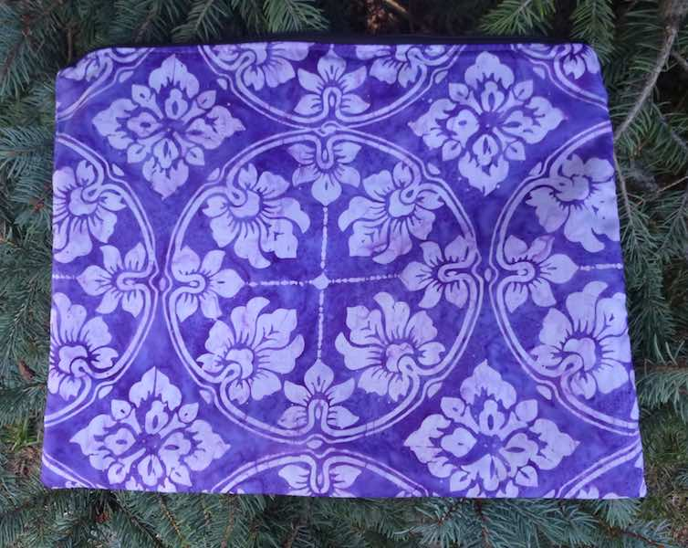 Purple Tile Batik Zippered Portfolio, The Pippa