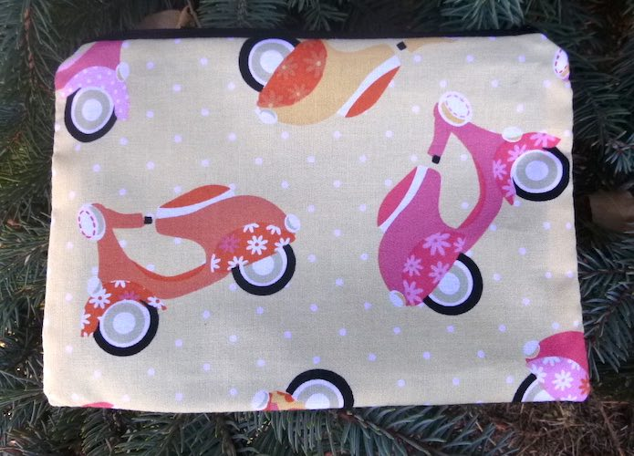 Scooters on Sorbet zippered bag, The Scooter
