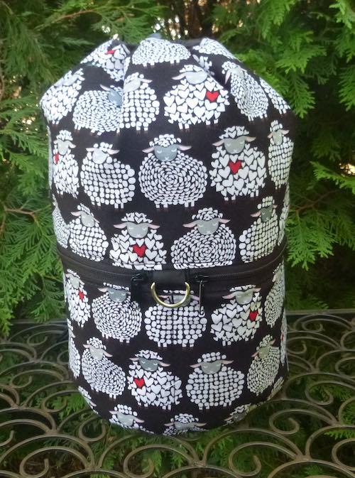 Sheepish Smile knitting project bag, large Kipster