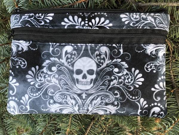 Skull Damask clutch, smart phone wallet, mini shoulder bag, up to iPhone 8 Plus wallet, The Wisteria