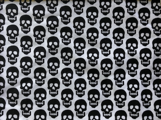Black skulls on white adjustable Face Mask - MADE TO ORDER