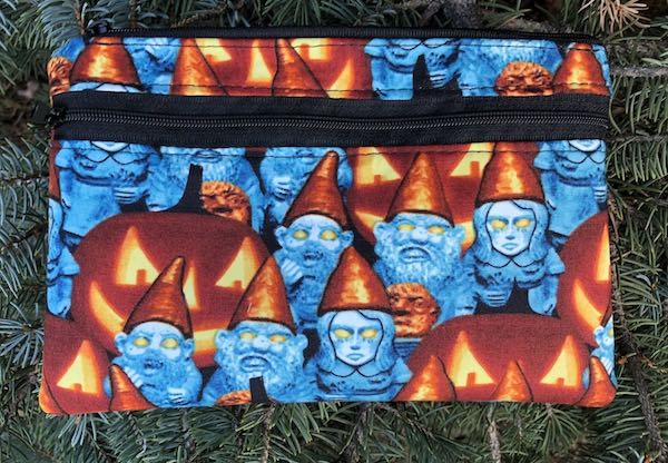 Zombie Gnomes clutch, smart phone wallet, mini shoulder bag, up to iPhone 8 Plus wallet, The Wisteria - Glow in the dark faces