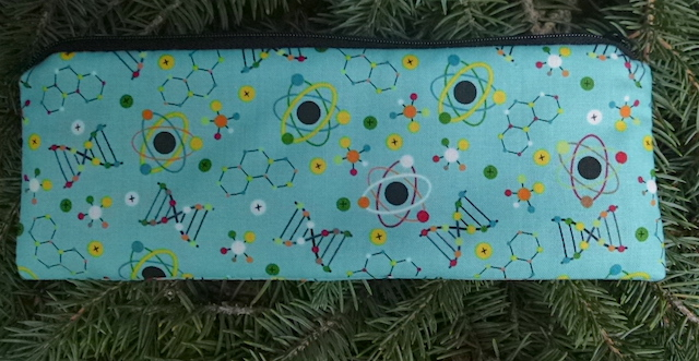 Atoms pen and pencil case, crochet hook pouch, The Scribe