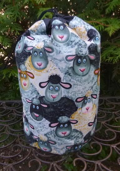 Barnyard Sheep SueBee Round Drawstring Bag