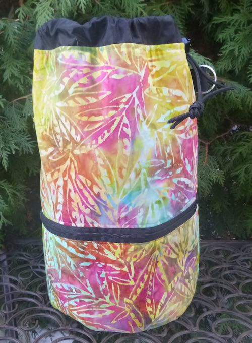 Batik Leaves knitting project bag, large Kipster