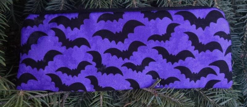 Bats on purple pen and pencil case, crochet hook pouch, The Scribe