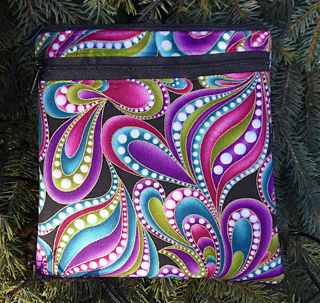 Beaded Paisley Robin, a smart phone purse on a string