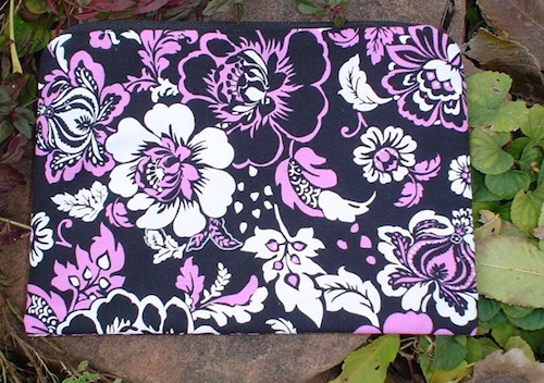 Black and Pink Floral Scooter Zippered Bag-CLEARANCE