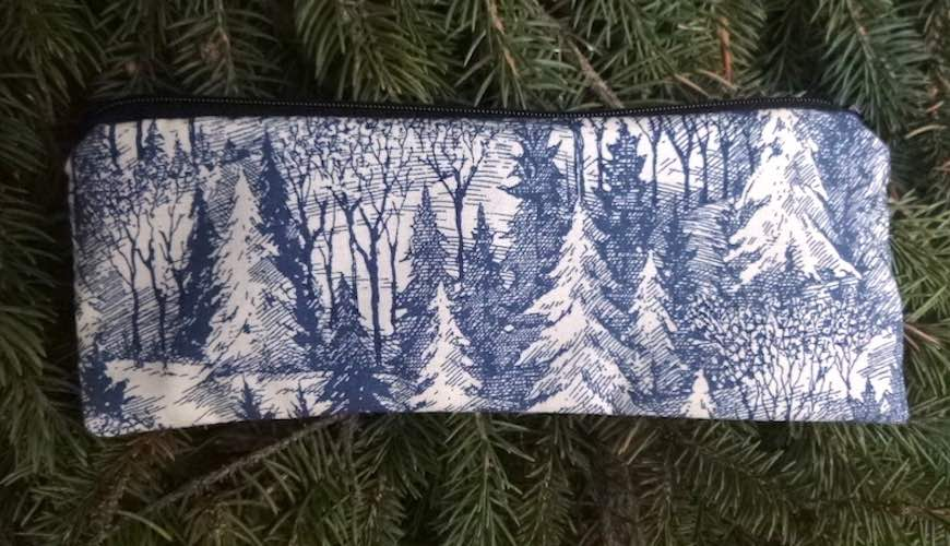 Blue Forest pen and pencil case, crochet hook pouch, The Scribe