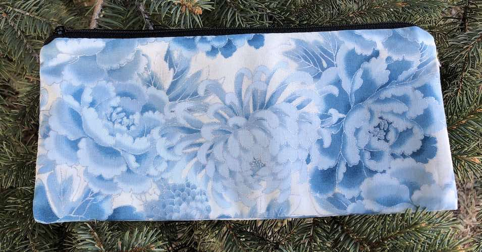 """Blue and Silver Peonies pouch for 8"""" knitting needles or reusable utensils, The Deep Sleek"""
