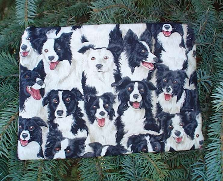 Border Collie Scooter Zippered Bag