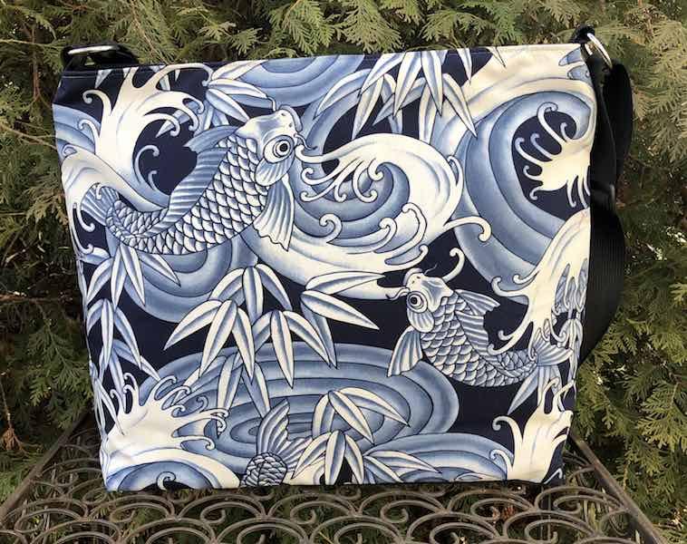 Blue Koi Britta Bag, a large zippered cross body purse