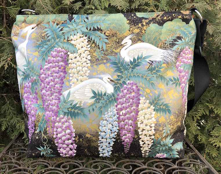 Japanese Herons and Wisteria Britta Bag,  large zippered cross body purse