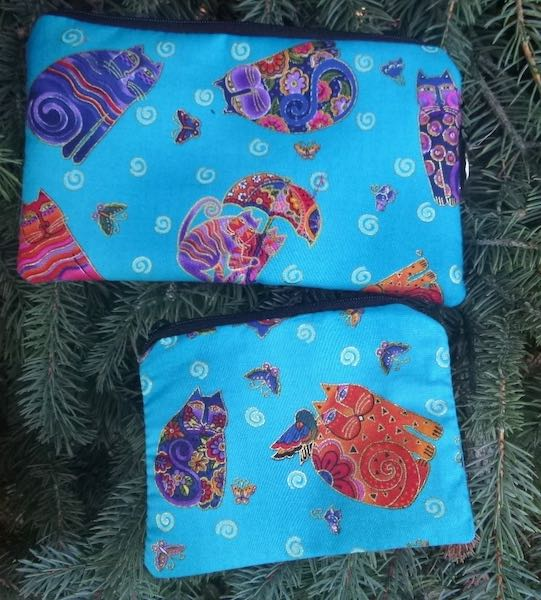 Laurel Burch Cats matched set, Sweet Pea mini wallet and Raven coin purse