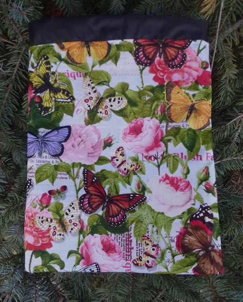 Butterflies and Flowers Flatie Jr. a flat drawstring bag