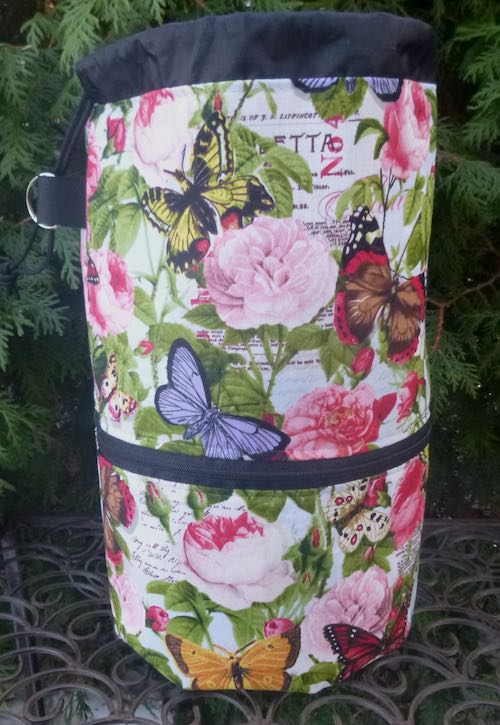 Butterflies and Flowers knitting project bag, large Kipster
