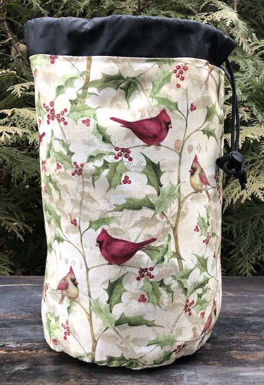 Cardinals and Holly SueBee Round Drawstring Bag