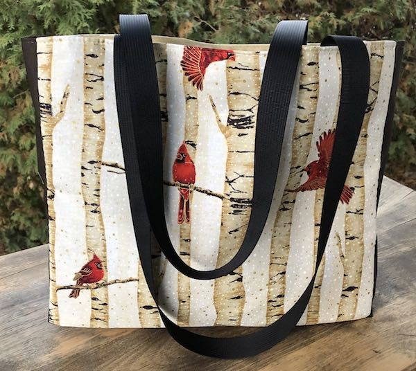 Cardinal Forest in Gold Medium Fleur Tote, wide