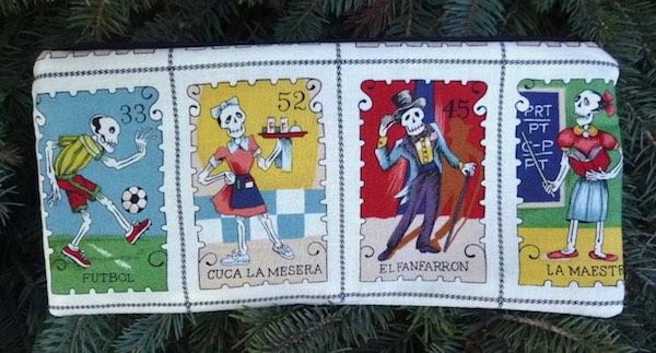 "Cartas Marcadas pouch for 8"" knitting needles or reusable cutlery, The Deep Sleek"