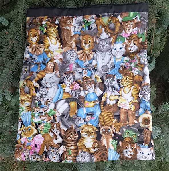 Cat Celebration flat drawstring bag for shoes, lingerie or knitting, The Flatie