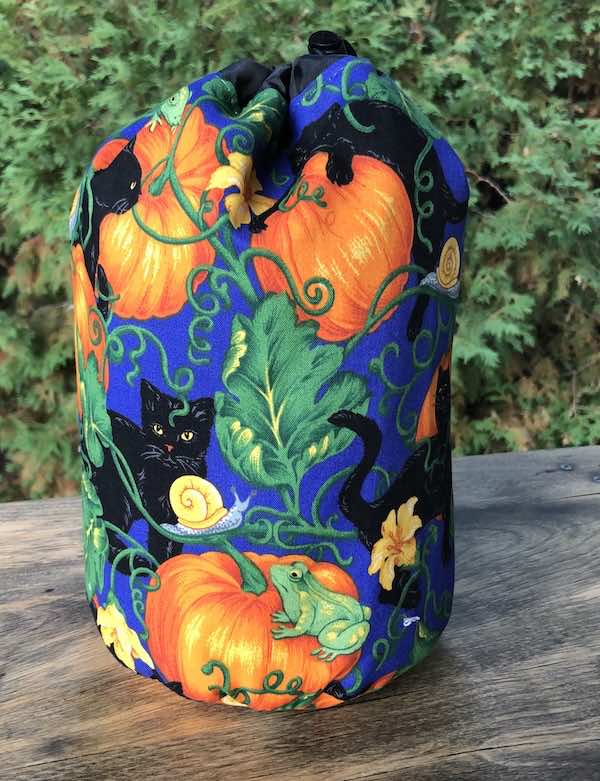 Black Cats and Pumpkins SueBee Round Drawstring Bag