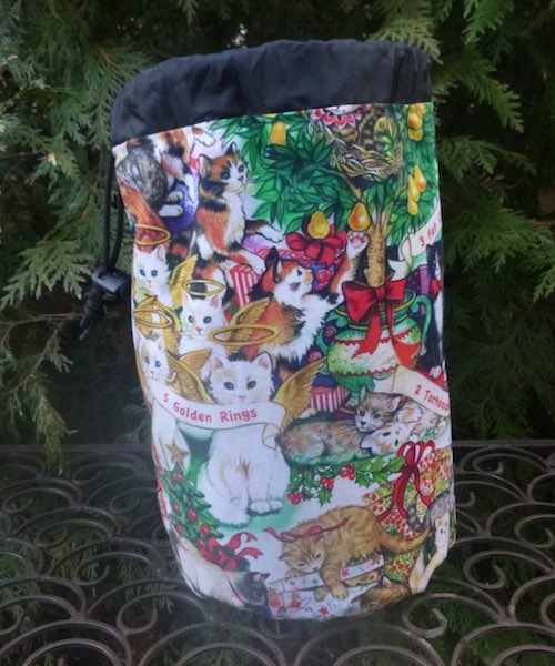 12 Cats of Christmas SueBee Round Drawstring Bag