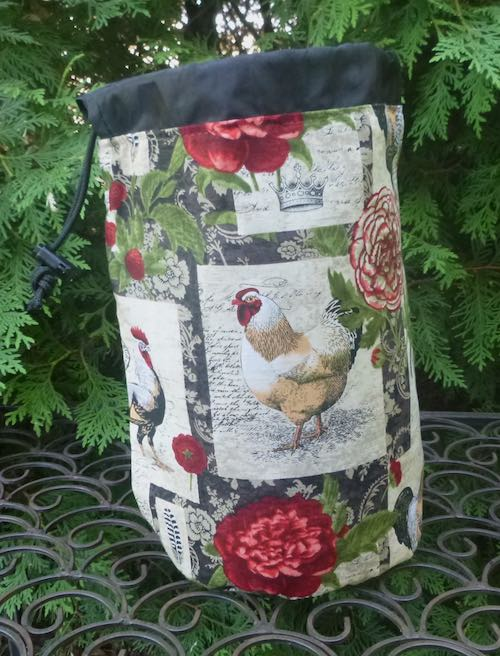 Chickens and Flowers SueBee Round Drawstring Bag