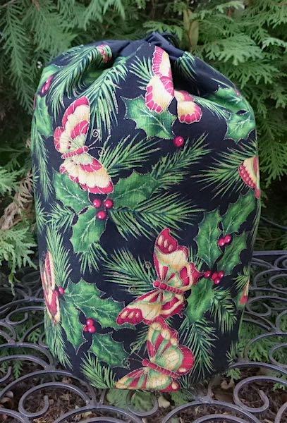 Christmas Butterflies SueBee Round Drawstring Bag