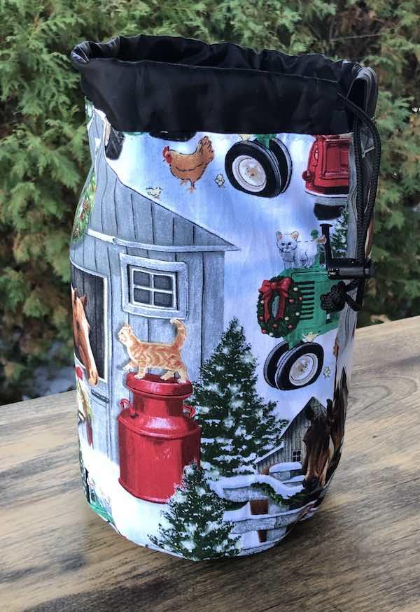 Christmas on the Farm SueBee Round Drawstring Bag