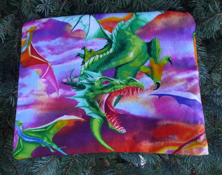 Colorful Dragons Supa Scribe extra large pencil case or makeup bag