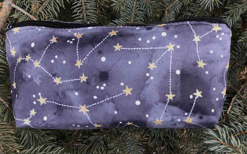 Constellations on graphite flat bottom bag, The Zini
