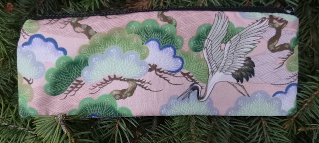 Cranes and Bonsai pen and pencil case, crochet hook pouch, The Scribe