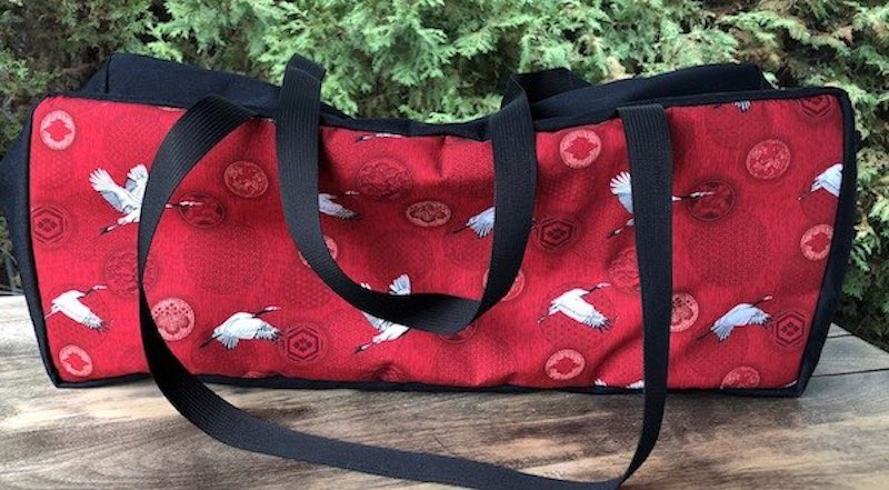 Cranes and Medallions on red Mahjongg Storage Set The Zippered Tote-ster and Large Zini
